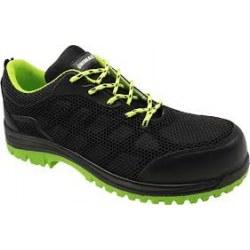 Παπούτσια ασφαλείας S1P από δέρμα με αναπνεούμενο, ανθεκτικό υλικό KPU χρώματος μαύρο